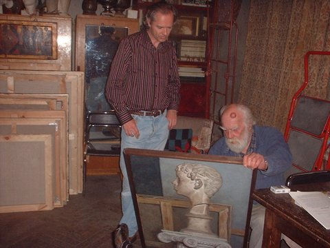The author with Korzhev circa 2010 in the artist's studio which was always meticulously tidy and well organized.