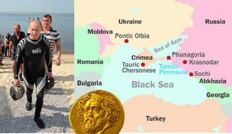Vladimir Putin in the area in 2011, a map of the area's more important ancient sites and a gold coin (3rd Century BC), from the black sea coast which sold in New York for US$3.25m.