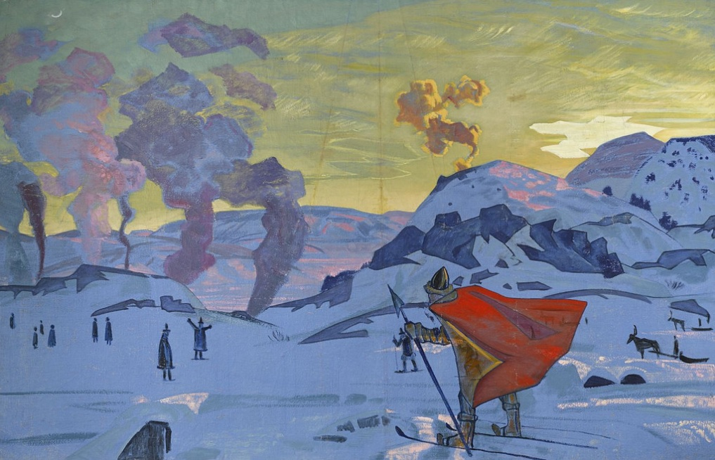 Nikolai Roerich, The Signal Fires of Peace, 100 x 155cm, 1917, pounds 800,000 - 1,200,000. Bonhams, 4th June 2014.