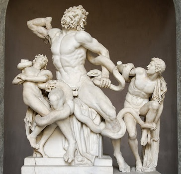 'Laocoon and his sons,' Marble, possibly Greek Helenistic Baroque, possibly Roman, possibly 16th century and by Michaelangelo.  Discovered in Rome in 1506.