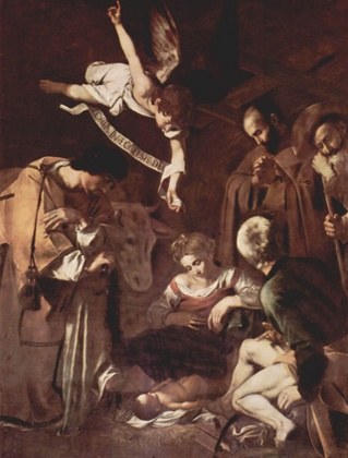 The Nativity with St Francis and St Lawrence, 1609, by Caravaggio
