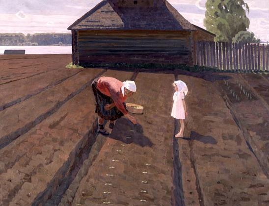 Valentin Sidorov, On the Warm Land, oil on canvas, 1962.