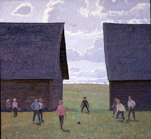 Valentin Sidorov, Near the Old Sheds, 1975, oil on canvas, Russian Museum