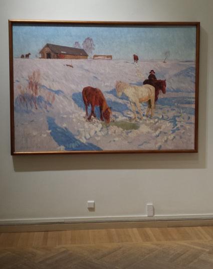 Valentin Sidorov, Horses on the Farm, oil on canvas, 1959.