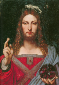 A version of the Leonardo image which sold at auction in the Us in 2009 for US$300,000 which may be the same painting pre-restoration.
