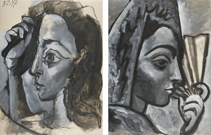 Femme se Coiffant (left) and Espagnole a l'Eventail (right), Picasso's portraits of his second wife, Jacqueline Roque.