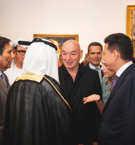 Jean Nouvel, the architect of the Louvre Abu Dhabi, and recipient of awards including the Aga Khan award, the Wolf prize, and the Pritzker Architecture prize for his over 200 projects, talking to the Sheihk Nahyan and the Russian Ambassador to the UAE, Alexander Efimov.