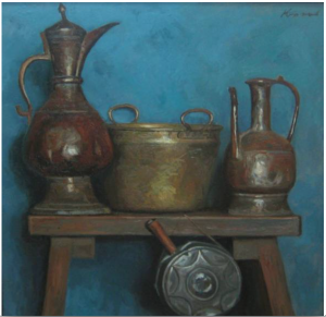 Korzhev 'Still life with Jugs.' Korzhev has said that in time he belives his still lives will be considered amoung his most famous works. Paintings such as this look simple but the artsist made enourmous efforts to arrange harmonius compsoitions and reused favorite objects all thorugh his career.