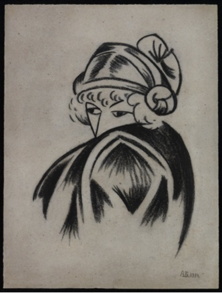 Wanda in a Coat, 1914, Charcoal on paper, Bogomazov.