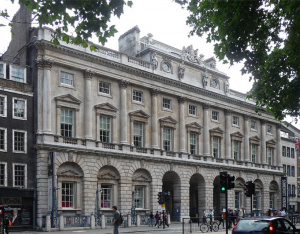 Somerset House's facade on the Strand. Built in 1776 by Sir William Chambers the fine Neoclassical building is home to the Courtauld Institute.