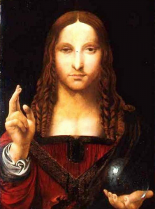 Salvator Mundi attributed to Bernadino Luini and now in the Chiesa di San Bernadino in Naples