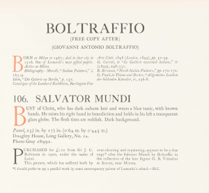 The Boltaffio Salavator Mundi entry from the 1913 Cook Collection Catalogue of the Italian School paintings complied by the Finnish art historian Tanced Boronius.