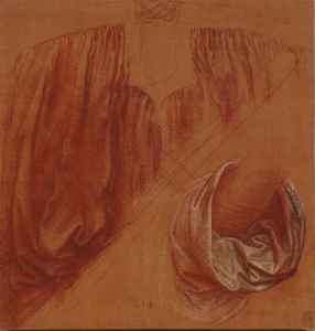 A study of drapery for a Salvator Mundi by Leonardo, c 1504, red chalk with pen and ink and white heightening on a plane red prepared paper, Collection of Queen Elizabeth II.