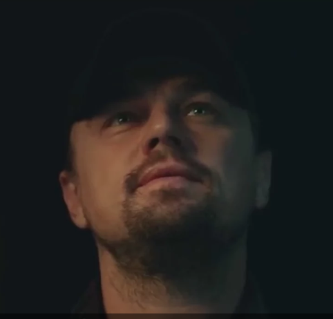 Leonardo di Caprio in the Chrsitie's video captured while contemplating the painting and perhaps his future role in the movie.