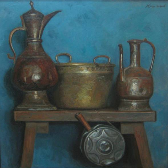 Still Life with Metal Jugs, Cauldron and Drinking Flask