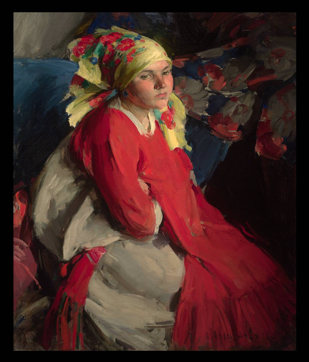Peasant woman with a green shawl