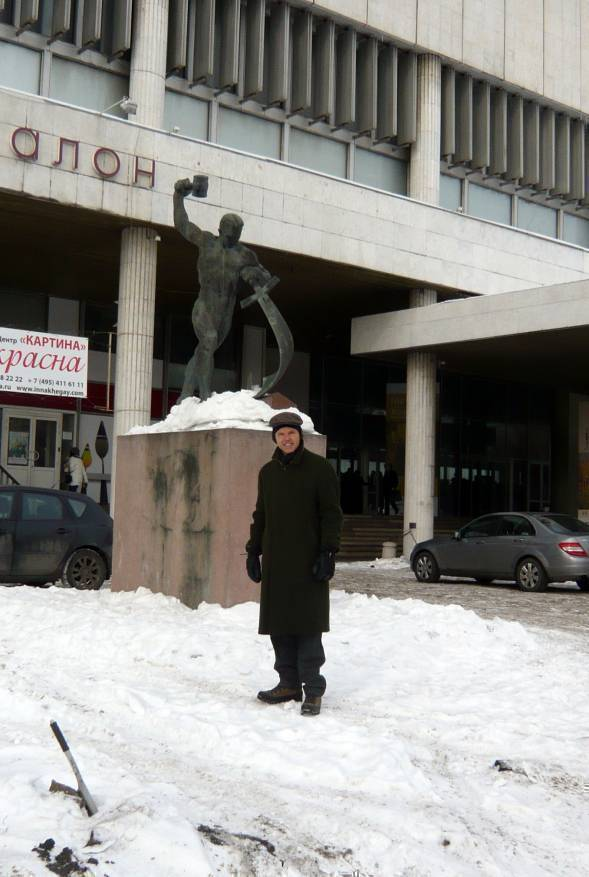 Ivan Lindsay in front of Evgeniy Vuchetich's 'Let us Beat Swords into Ploughshares' bronze outside the Tretyakov Gallery, Moscow, February, 2011