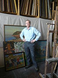 Ivan Lindsay in Victor Ivanov's studio, Moscow, 2007